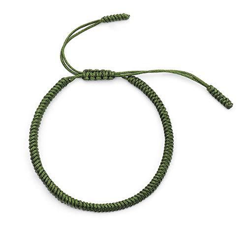 geshiglobal Pulseras tejidas a mano, paquete deportivo para el pelo de la suerte, cuerda roja, regalo de diamante, nudo ajustable, tamaño verde