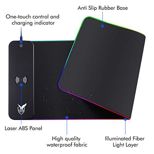 ICETEK RGB Gaming Mauspad XXL LED Mousepad Großes 800 x 300 x 4mm 10 Beleuchtungsmodi mit 10W Schnellladung Qi Wireless Charging für Handy, Kopfhörer etc.