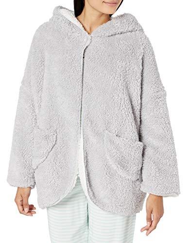 CASUAL MOMENTS Damen 28 Reversible Bettjäckchen mit Schalkragen, Knöpfe an der Vorderseite, und aufgesetzte Taschen, Silber/cremefarben, Large