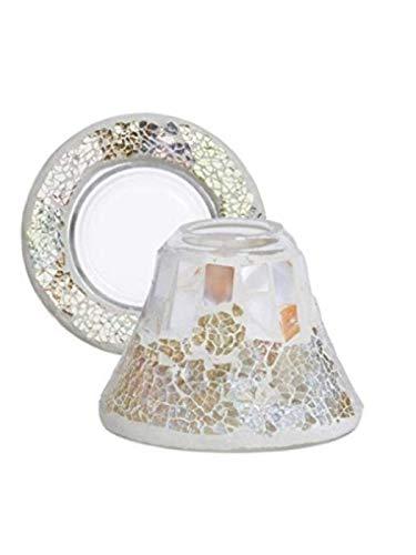 YANKEE CANDLE Gold/Pearl Crackle Pantalla de lámpara y Plato, Cristal, Multicolor, pequeño