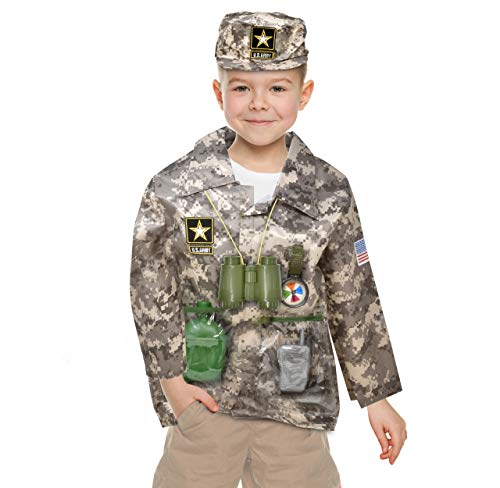US Army Children's Deluxe Combat Military Soldier Role Play Dress Up, Camouflage Costume Set with Cap for Boys Kids and Toddlers