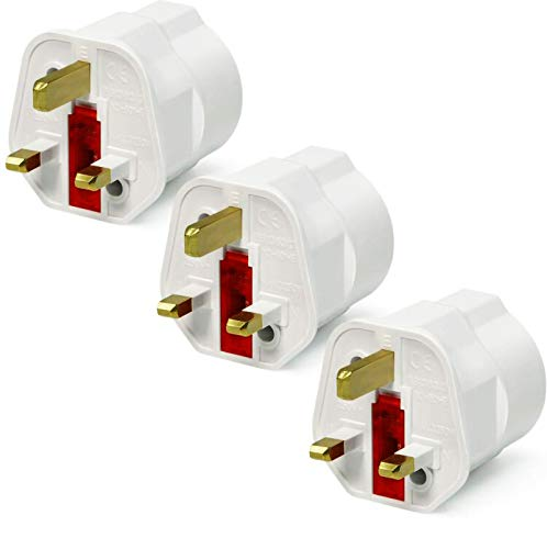 VGUARD UK Adapter Reiseadapter, 3 Pack England Deutschland Stecker, Stromadapter Reisestecker Schuko EU zu UK Steckdose- Weiß