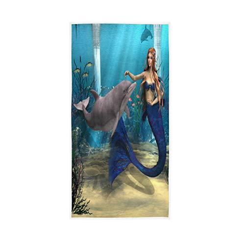 LZXO Toalla de mano de algodón con diseño de sirena y delfín de secado rápido (76 x 38 cm), muy suave, absorbente, para baño, cocina, hotel