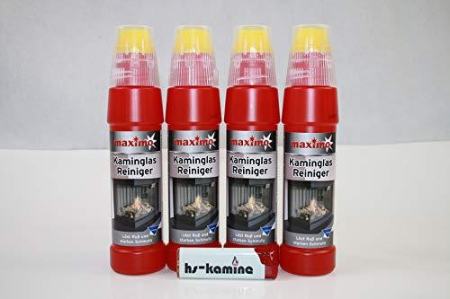 **Set** Kaminglas Reiniger 4 Flaschen a. 200ml Gel mit Bürste Aktivgel Kaminscheibenreiniger
