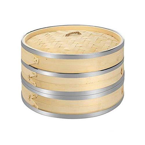 Knowled Vaporizador de bambú orgánico de 20,2 cm, 2 niveles, hecho a mano, cesta con tapa, para dim sum, verduras, carne, pescado, 50 vaporizadores, 2 pares de palillos chinos