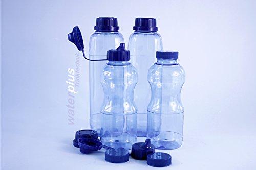 4x TRITAN Trinkflaschen 100% ohne Weichmacher Set bestehend aus: 2x 1 Liter (eckig), 2x 0,5 Liter (rund) + 3 Standard-, + 3 Dicht-, + 2 Trinkdeckel, weichmacherfrei / BPA frei, Öffnung (33 mm), geschirrspülfest, lebensmittelecht, geschmacksneutral und geruchsneutral / geruchsfrei