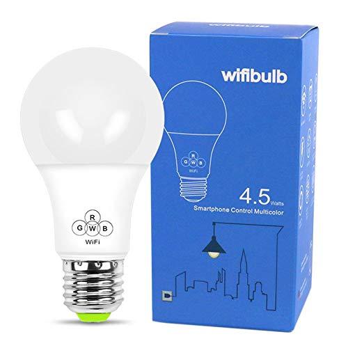 BianchiPamela 4.5W Smart WIFI Bulb RGB Dimmable LED Bulb APP Remote Control Wake-Up Lights