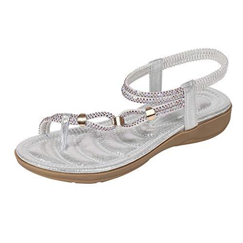 DFMNE Sandalen für Frauen Mädchen Damen Frühling Sommer Bohemia Kristall Strand Flops Flip Casual Fashion 2019, Silber - Silber - Größe: 37 EU
