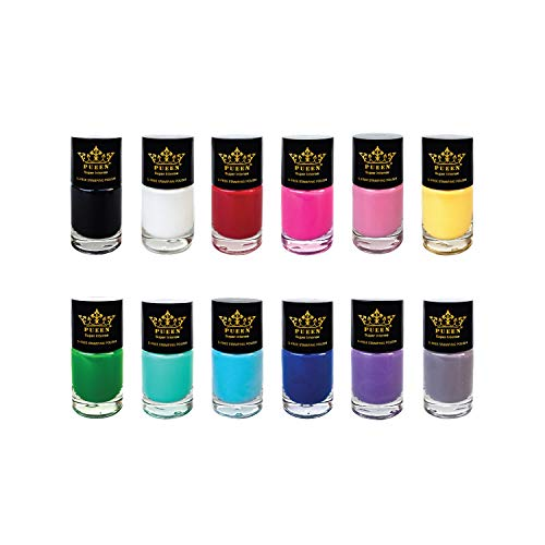 PUEEN Super Intense Nail Polish for Nail Stamping Big 5-Free Formula Nail Color Lacquer - Set of 12 Different Colors