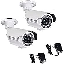 VideoSecu 2 Pack 700TVL High Resolution Built-in 1/3'' Sony Effio CCD Zoom Bullet Security Cameras Day Night Vision Outdoor 42 Infrared LEDs 4-9mm Varifocal Lens with Free Power Supplies IRE96W BTX