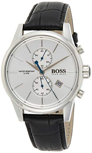 Hugo Boss Herren Chronograph Quarz Armbanduhr mit Lederarmband 1513282