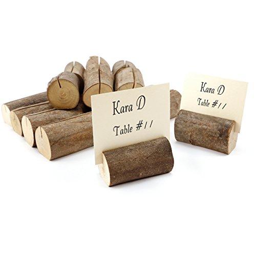 Soporte para Tarjeta marcasitio Fotos Mesero Decoración de mesa de boda Rútica- Soporte madera natural (20)