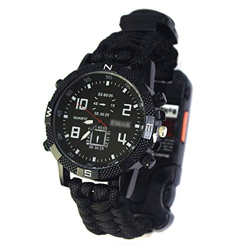 OUYA Reloj Deportivo para Hombre + Caja de Reloj, Reloj de Supervivencia al Aire Libre 7 en 1, Reloj Multifuncional de Cuerda de Paraguas de Supervivencia al Aire Libre de 2,2 m,A