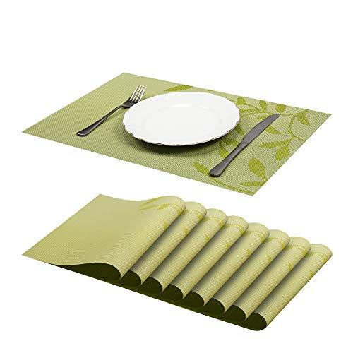 JJ JUJIN 8er Set Platzsets Abwaschbar rutschfest Vinyl PVC hitzebeständigen Tischsets für Küchentisch 30 * 45cm Grün
