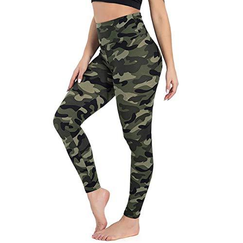 TNNZEET Leggings para mujer, opacos, cintura alta, pantalones de deporte, pantalones de yoga, pantalones para correr, fitness, deporte y tiempo libre, pack de 1/3, 1 unidad verde, L-XL