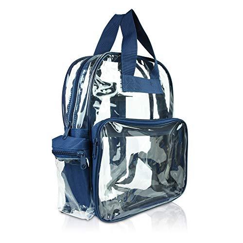 DALIX Kleiner Rucksack, transparent, Schwarz, Lila, Königsblau, Pink, Gold, Grau, Grün, Rot, Blaugrün Gr. S, marineblau