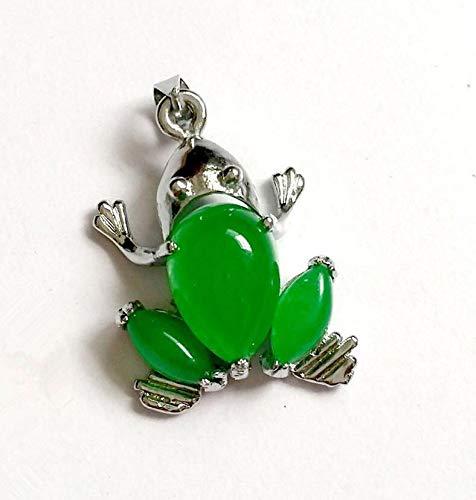 K-ONE Colgante Hermoso de la Mascota del dragón de la RanaAnimal del Metal de la aleación del Jade Verde