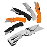 Lichamp 6 Pack Folding Utility Knife Set, Pocket Box Cutter with Belt Clip, Includes Extra 30 Pieces Quick Change Blade, Stainless Steel Grip with SK5 Blade