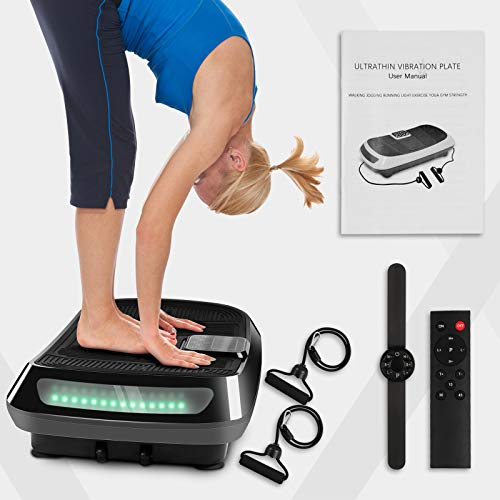 Dskeuzeew 3D Dual Motor Vibration Plate Exercise Machine - Oscillation, Vibration + 3D Motion Vibration Platform with Bluetooth Speakers and Huge Anti-Slip Surface for Home Gym Workout (Black)