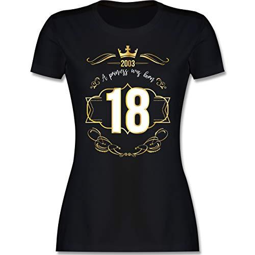 Geburtstag - 18 Geburtstag Prinzessin Mädchen 2003 - L - Schwarz - Geschenke zum 18 Geburtstag mädchen - L191 - Tailliertes Tshirt für Damen und Frauen T-Shirt