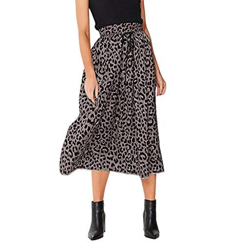 FRAUIT dames luipaard A-lijn Elegant Maxirock trekkoord plissé elastische hoog getailleerde Boheemse lange rok