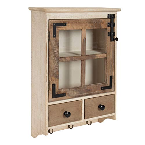 Kate and Laurel Hutchins Farmhouse Wood Wall Cabinet with Window Pane Glass Door and 2 Storage Drawers, Rustic and White