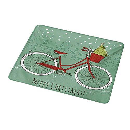 Design Gaming Mouse Pad Weihnachten, Hand gezeichnetes Vintage Bike mit kleinen Weihnachtsbaum Haus Silhouetten Schnee, Mandelgrün Rot Weiß für Computer