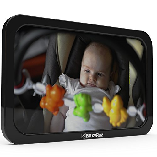 BexyRuz Best Baby Car Mirror for Rear Facing Car Seat | Shatter-Proof | Strong Dual Headrest Straps | 360° Rotation. Tilt Right, Left, Up and Down | 100% Lifetime Ironclad Satisfaction Guarantee!!!