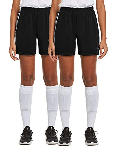 BALEAF Women's 5.5 Inches Basketball Athletic Training Sports Soccer Shorts 2 Pack Black/Black M