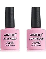 AIMEILI Gel Nagellack Base Coat och No Wipe Top Coat UV/LED Blötläggning Gelpolering Underlack & överlack Set 2 ×10 ml