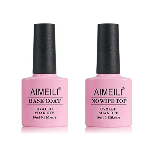 AIMEILI Base Coat Top Coat UV LED Gel Nagellack Gellack Unterlack & Überlack Set Nägel Maniküre Kit 2×10ml