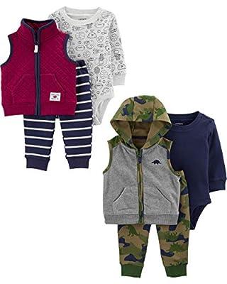 Carter's baby boys 2-pack 3-piece Set Fleece Vest, Maroon Quilt/Heather Grey Dino, 3 Months US