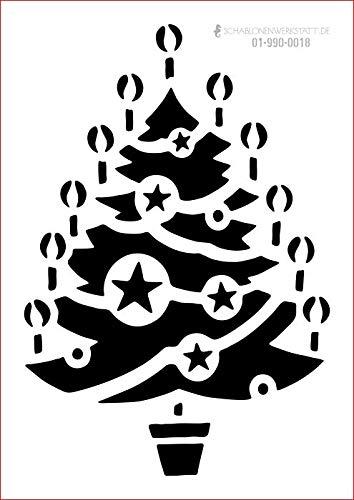 graphits Schablone Weihnachten, Weihnachtsbaum, Kerzen, 01-990-0018 Fensterschablone, Dekoschablone, Größe anpassbar