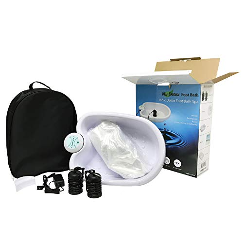 Ionic Detox Foot Bath Cleanse Spa with Basin 100 Liners and Two Round Arrays (Black Array Combo)
