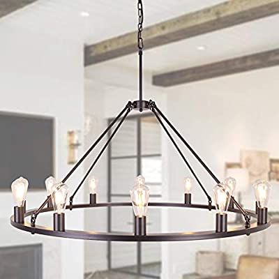 OSAIRUOS W47'' Vintage Rustic Rod Iron Chandelier Farmhouse Ceiling Pendant Chandeliers Lighting Fixture Industrial Decor Round Island 12 Lights for Living Room Hotel Church Cafe Shops, Bronze