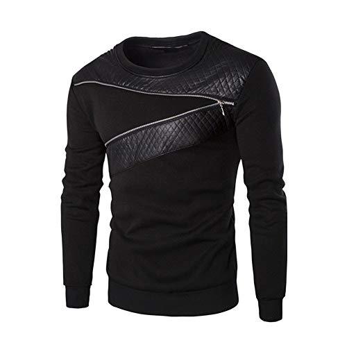 Blusa De Hombre Liquidación Oferta Invierno Hombres Hombres Clásico Cálido Empalme Sudadera De Cuero Abrigo Chaqueta Outwear Pullover Casual Suéter