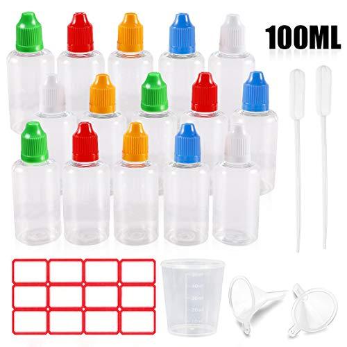 Tropfflasche Set, 15x100 ml Leere Plastikflaschen Flaschen mit Trichter, Messbecher und Etiketten, Quetschflasche zum Befüllen und Mischen von Nikotin, mit Kindersicherung Deckel