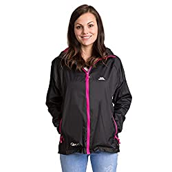 Trespass Qikpac Female Jacket, Black, XXL, Kompakt Zusammenrollbare Wasserdichte Jacke für Damen, XX-Large / 2XL / 2X-Large, Schwarz