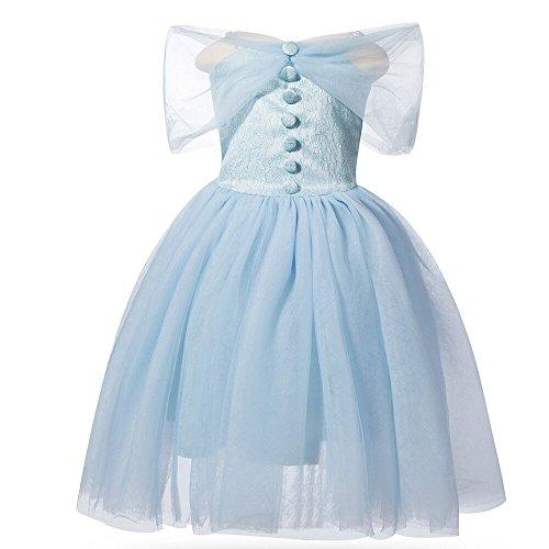 Costume da principessa Cenerentola, senza maniche, per cosplay, Halloween, festa di compleanno, colore: blu (2 anni)