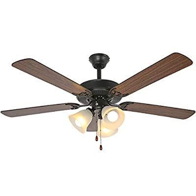 52 Inch LED Indoor Oil-Rubbed Bronze Ceiling Fan with Light Kit, 3 Lights Ceiling Fan with Reversible Blades & Pull Chains for Living room, Bedroom, Kitchen, Garage, ETL Listed from Hykolity