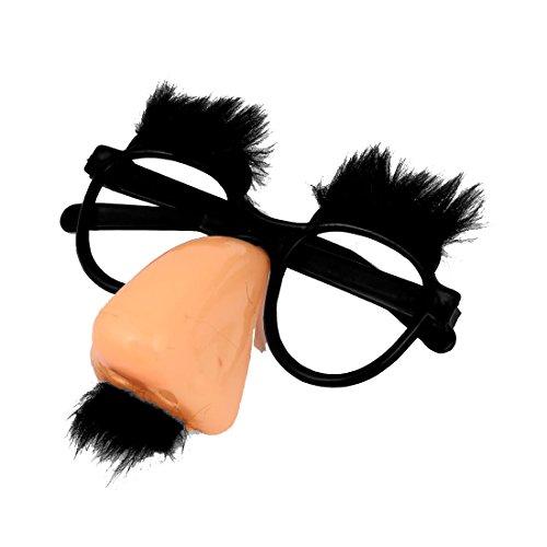 Gafas de payaso - SODIAL(R)Gafas redondas con nariz rosada y bigote negro de coral del payaso