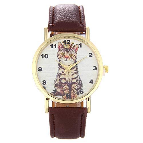 ZWH Animal Gato cinturón Reloj Marea Reloj de Cuarzo Mujer PD1067 (Color : Brown)