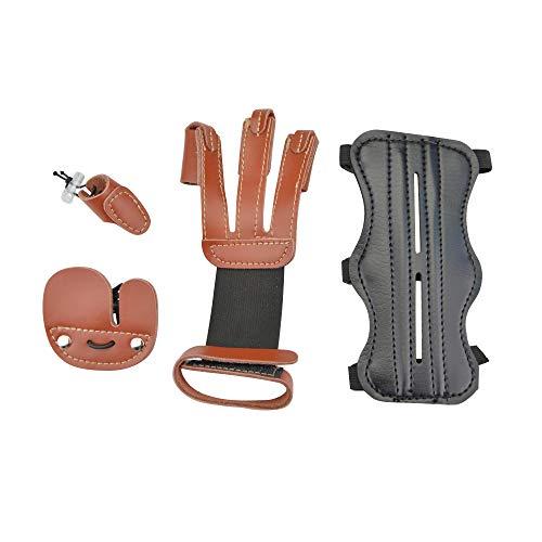 MILAEM Guante para Tiro con Arco Guardia de 3 Dedos Protector de Brazo Protector de Dedos Finger tabs Anillo de Pulgar Conjunto de Equipo Protector para Arco Long Arco recurvo Tiro de Caza