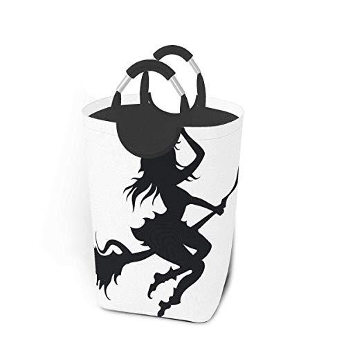 Cestas de lavandería plegables, grandes bruja negra volando en un palo de...