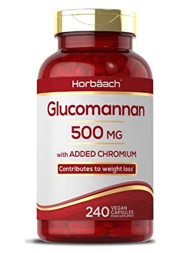 Glucomannan 500mg + Chromium Picolinate | 240 Vegan Capsules | Konjac | Non-GMO, Gluten Free Supplement
