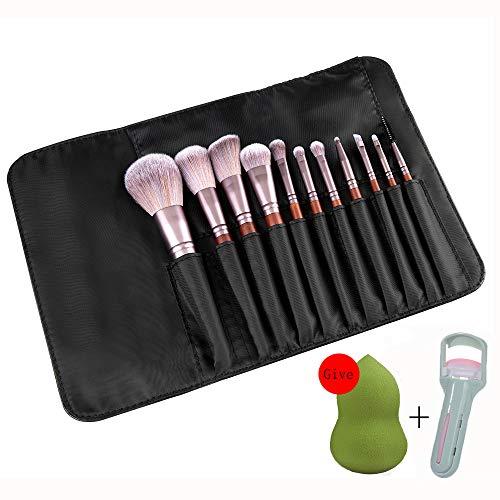 Pinceaux Maquillage Cosmétique Professionnel,Manche En Bois Conception 11Pcs Kit Cosmétique Brush,Avec Trousse De Maquillage