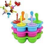 Ttdbd Molde de Silicona para paletas de Hielo, 3 Piezas, bandejas de Cubitos de Hielo antiadherentes Reutilizables, moldes para Hacer paletas de Helado congelado DIY para niños, bebés