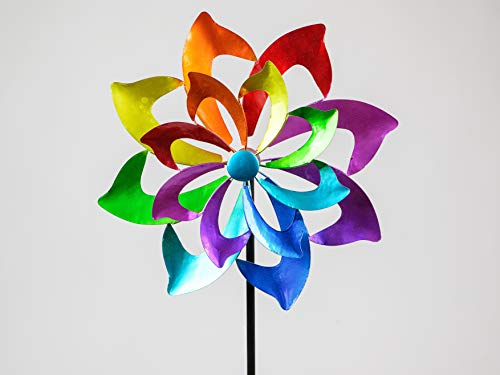 formano Windrad Gartenstecker Color Flower H. 130cm D. 46cm Metall Garten F20