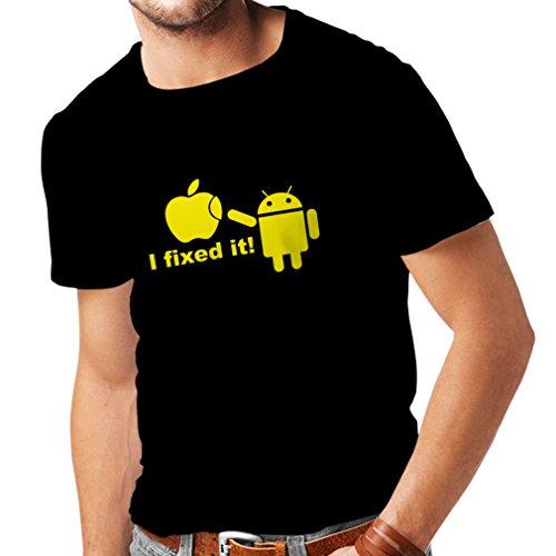 lepni.me Maglietta da Uomo Robot Android e la Mela - Divertente Design parodico umoristico (XX-Large Nero Giallo)