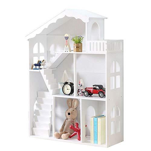 WODENY Puppenhaus Bücherregal, Weißes Kinder Bücherregal aus Holz, für Kinder, Kinder, Mädchen, Jungen